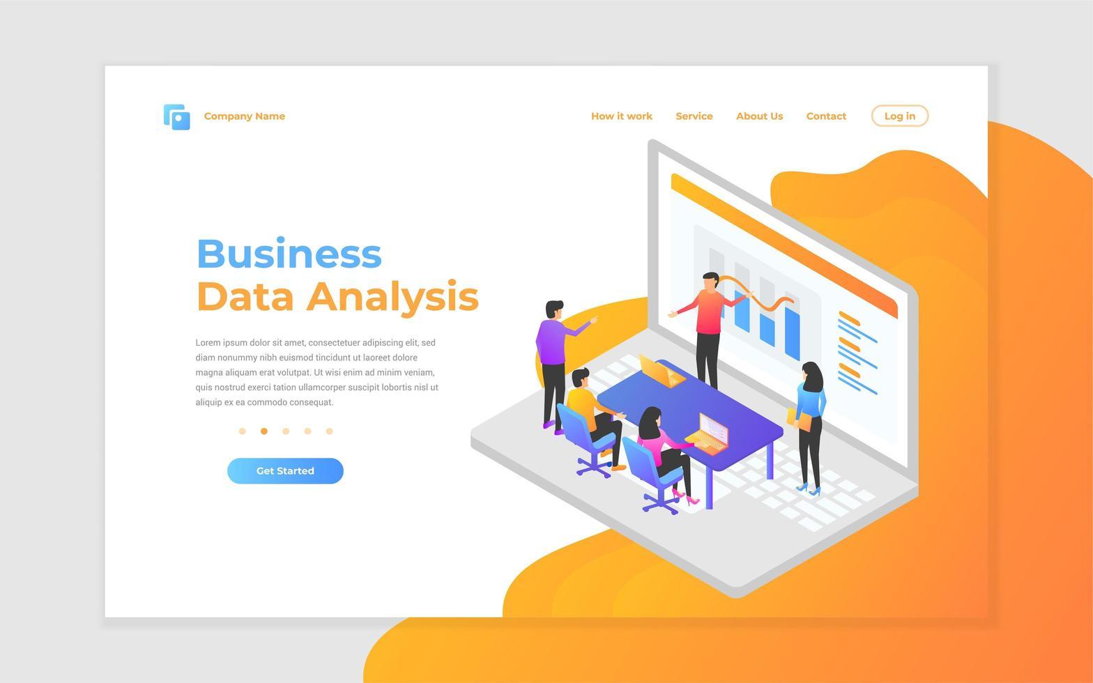 página de inicio de trabajo en equipo, análisis empresarial y estrategia vector