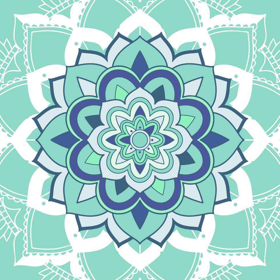 mandalapatroon op lichtblauwe achtergrond vector