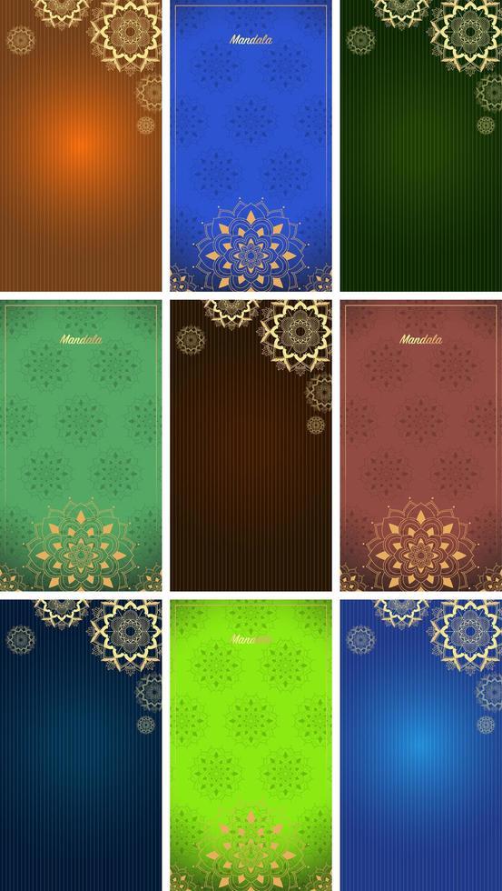 Hintergrundvorlage mit Mandala-Designs vektor
