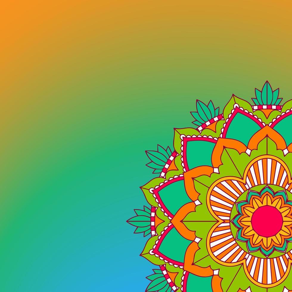 motif de mandala sur fond orange, vert vecteur