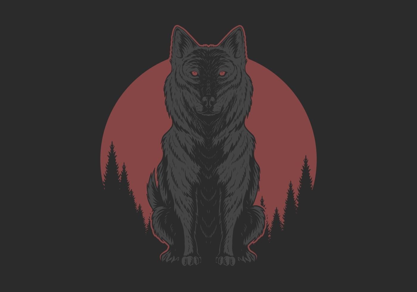 rode maan wolf illustratie vector