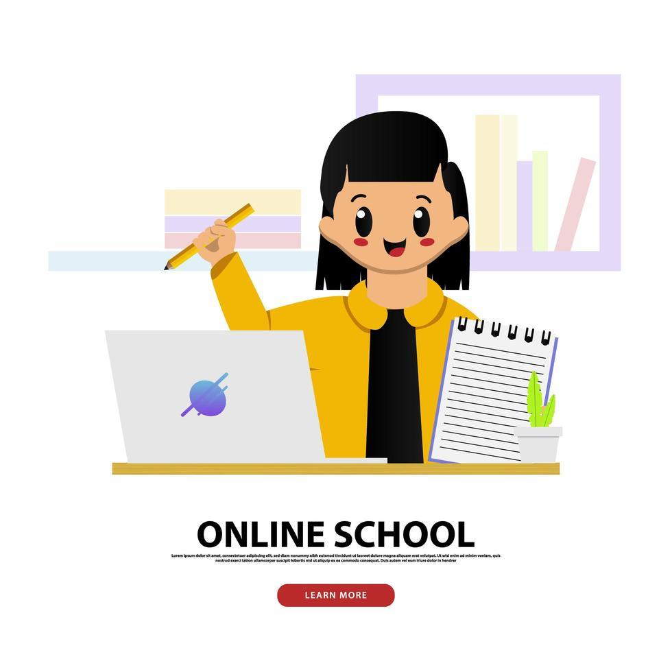 online schoolbanner met schattig meisje vector