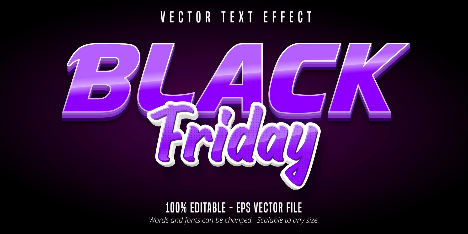 efecto de texto editable de viernes negro púrpura vector