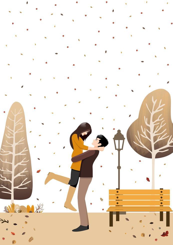 Herbstpaar stehend im Herbstgarten vektor