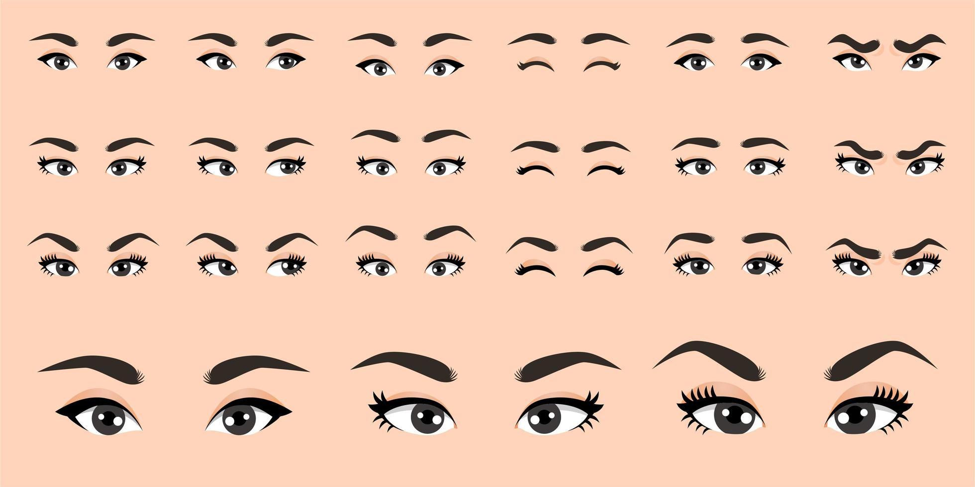 cartoon vrouwelijke ogen collectie vector