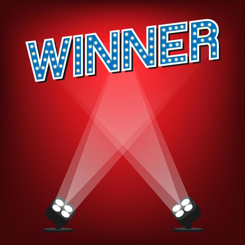Etiqueta ganadora en el escenario con fondo rojo e iluminación. vector