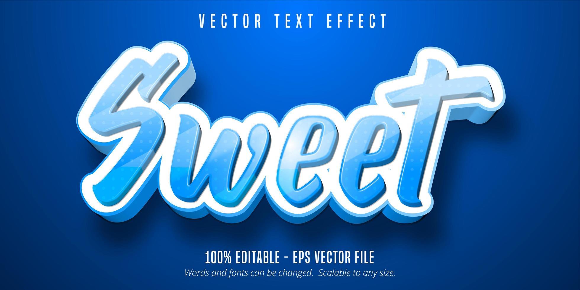 efecto de texto editable de estilo de dibujos animados dulce punteado azul vector