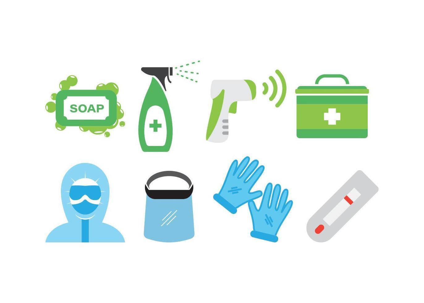 conjunto de prevención de virus vector