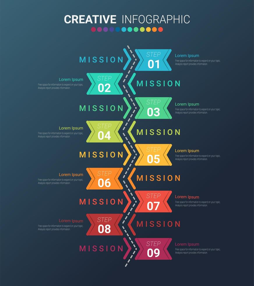 kleurrijke verticale 9 stappen infographic vector