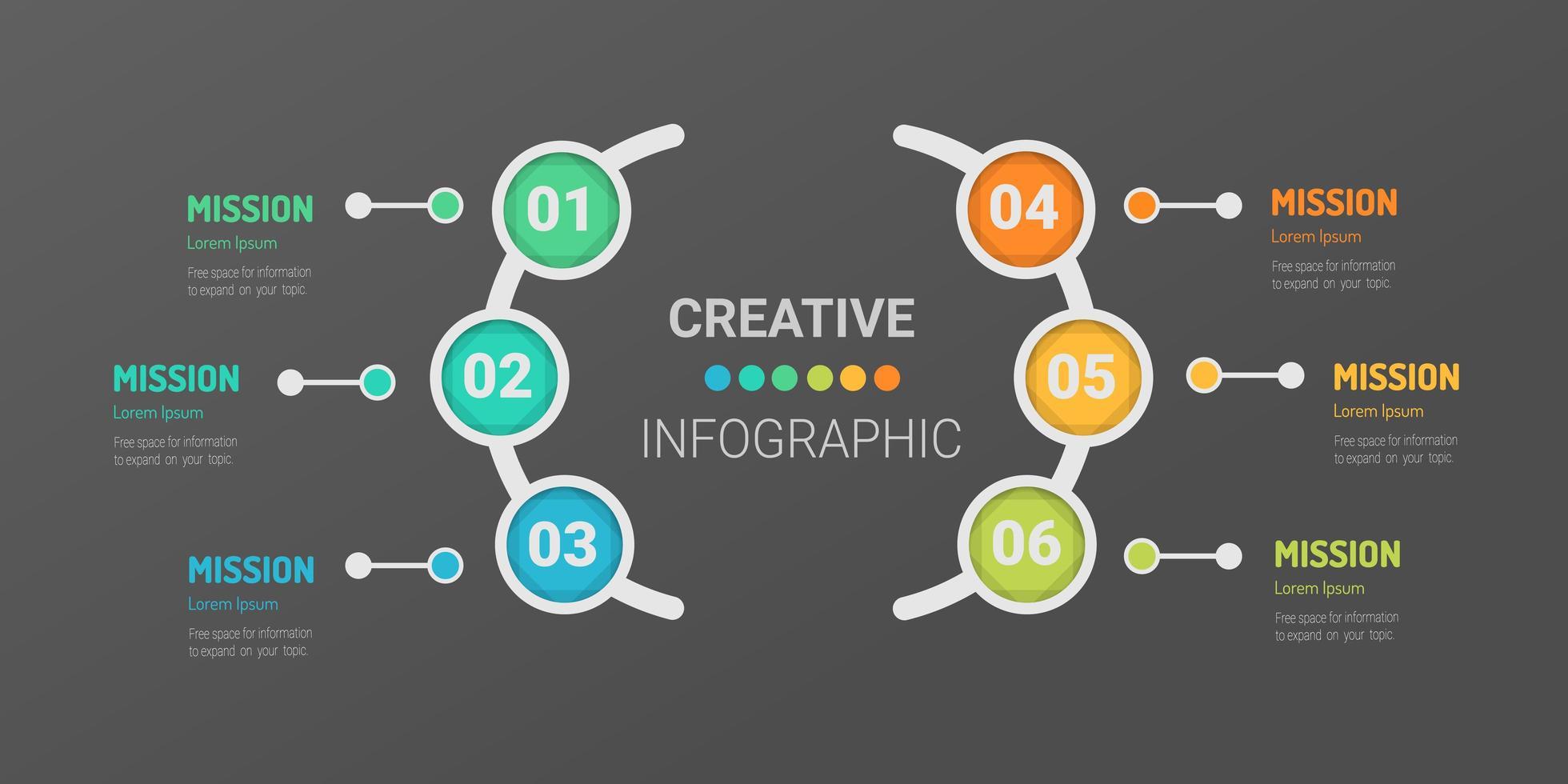 Modèle d'infographie en 6 étapes avec des cercles colorés vecteur