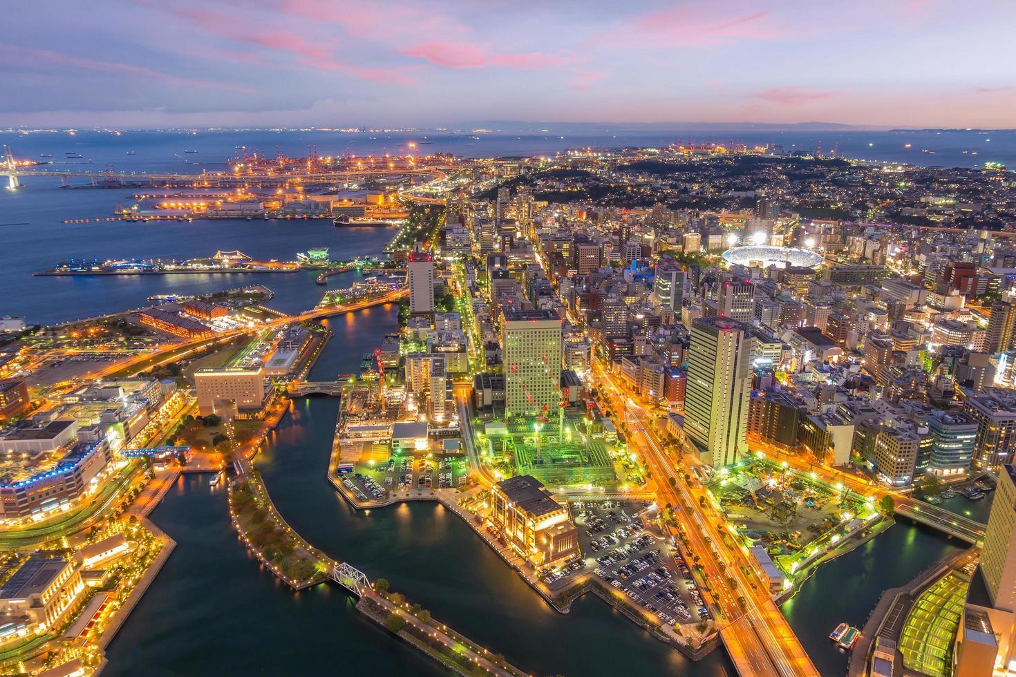 Yokohama city skyline from top view at sunset photo