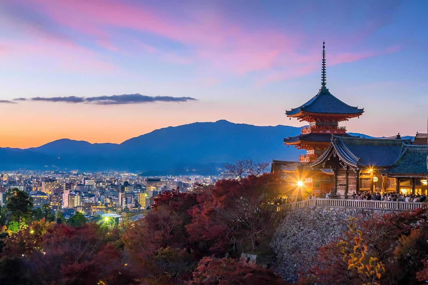 Autumn color of Kyoto skyline  photo