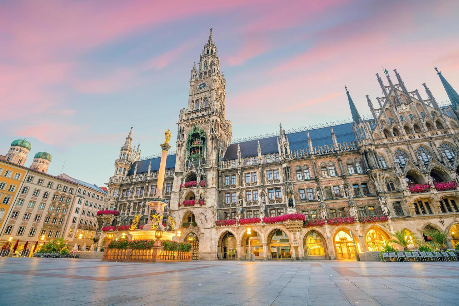 Munich skyline with Marienplatz Town Hall photo