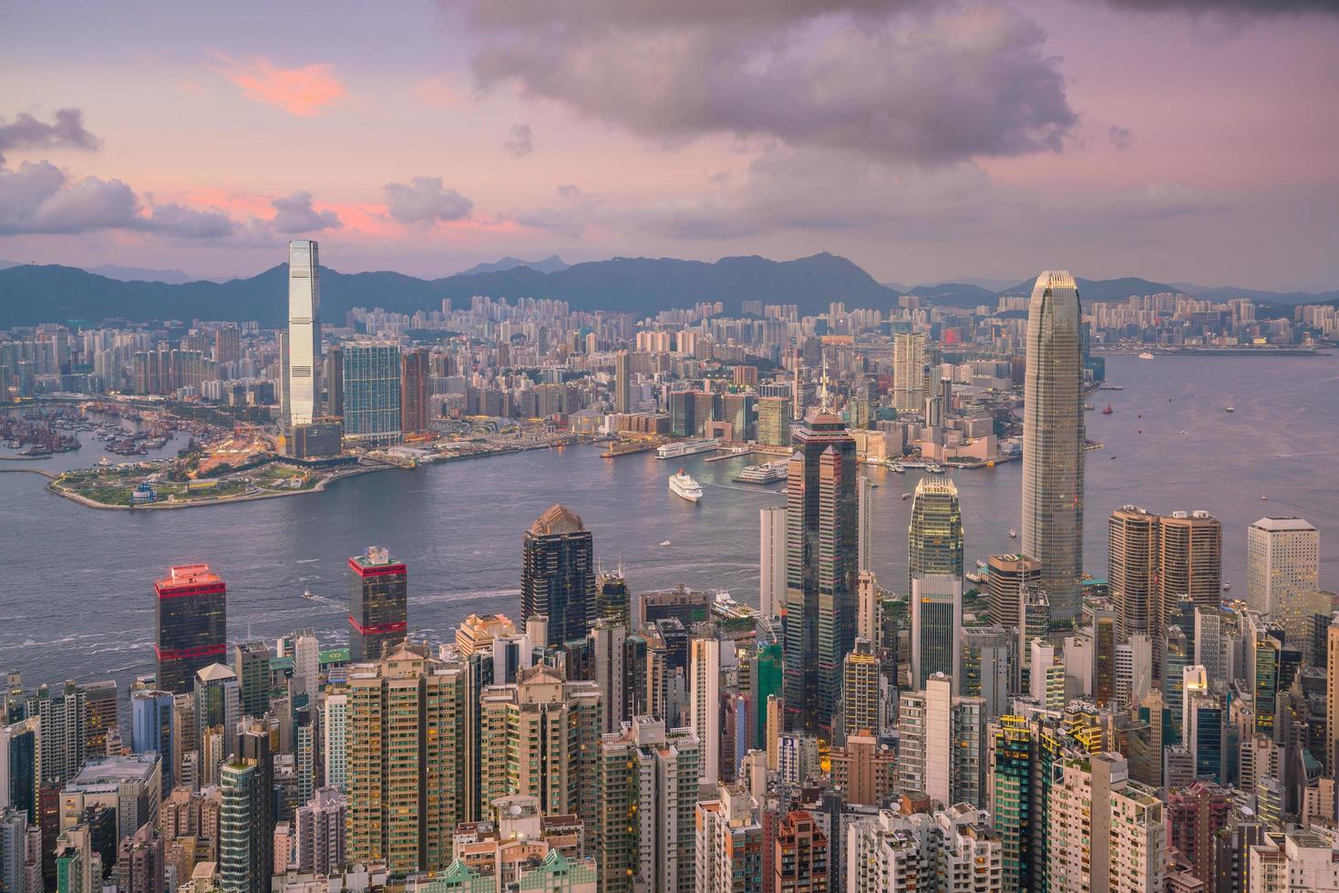 Victoria Harbor and Hong Kong sunset photo