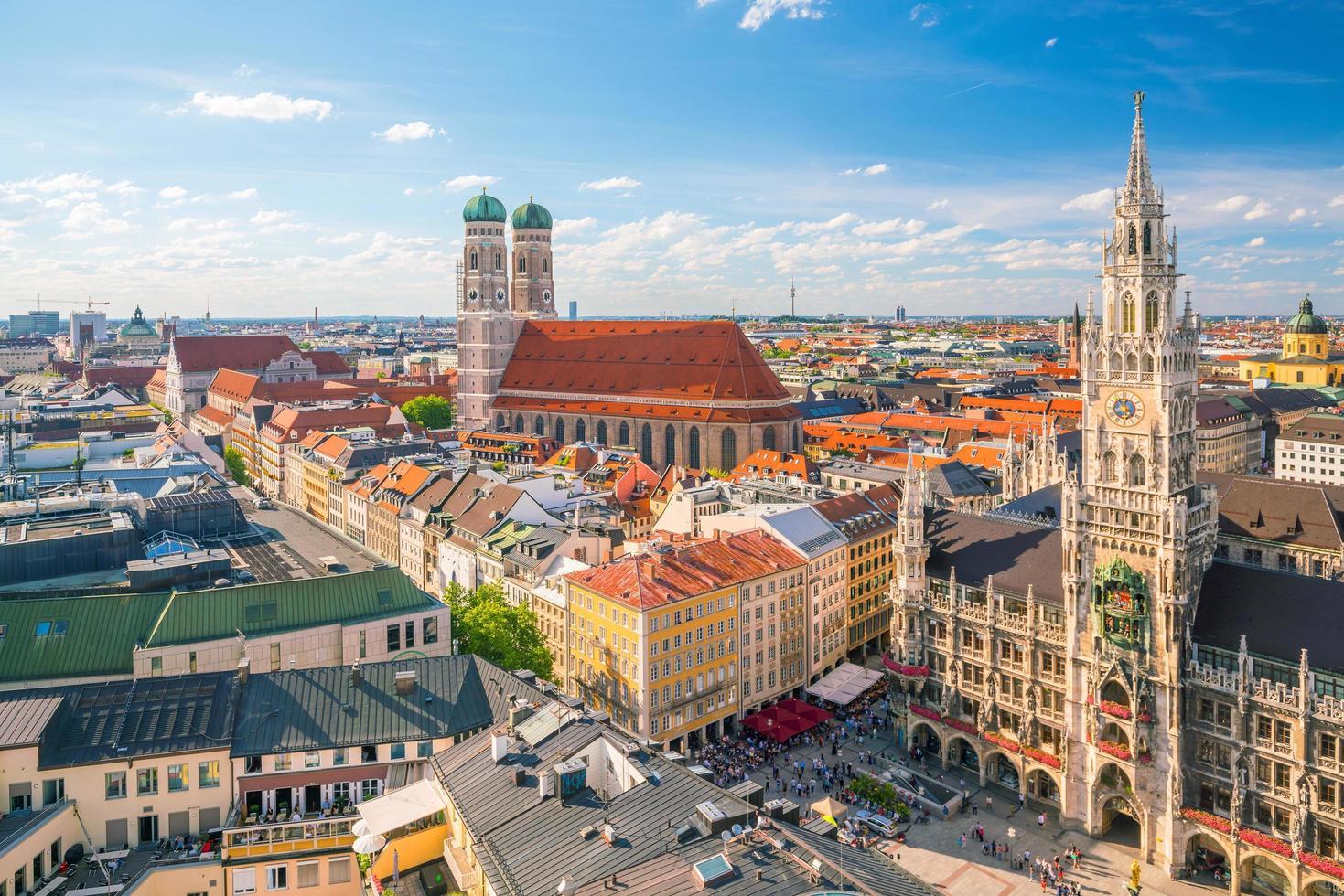 Munich skyline with blue sky photo