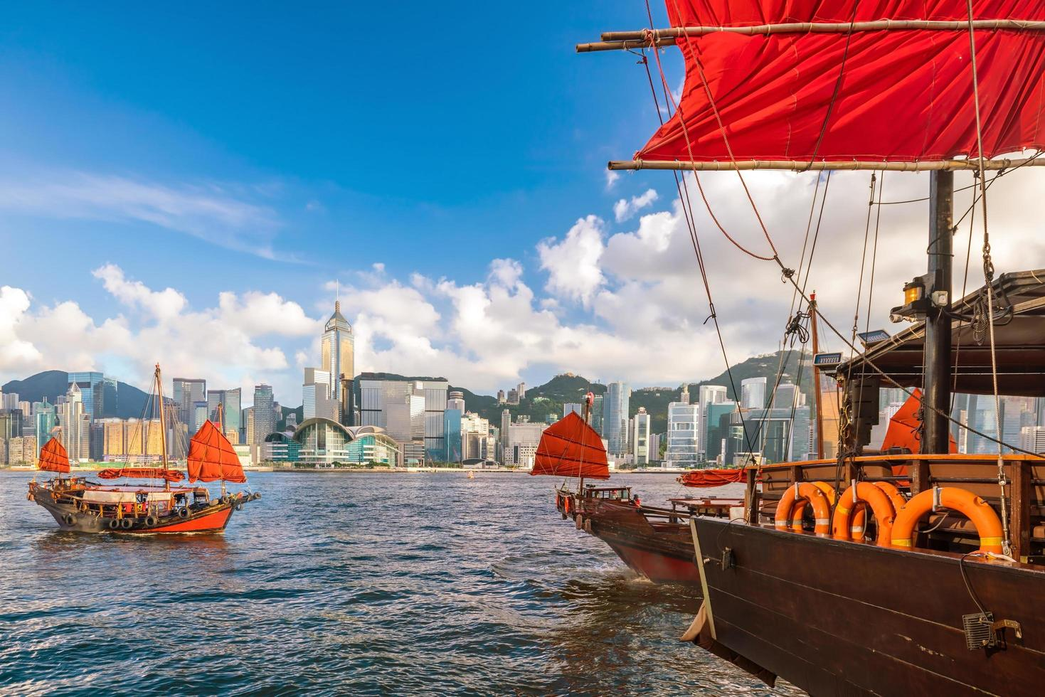 Victoria Harbor in Hong Kong with vintage ship photo