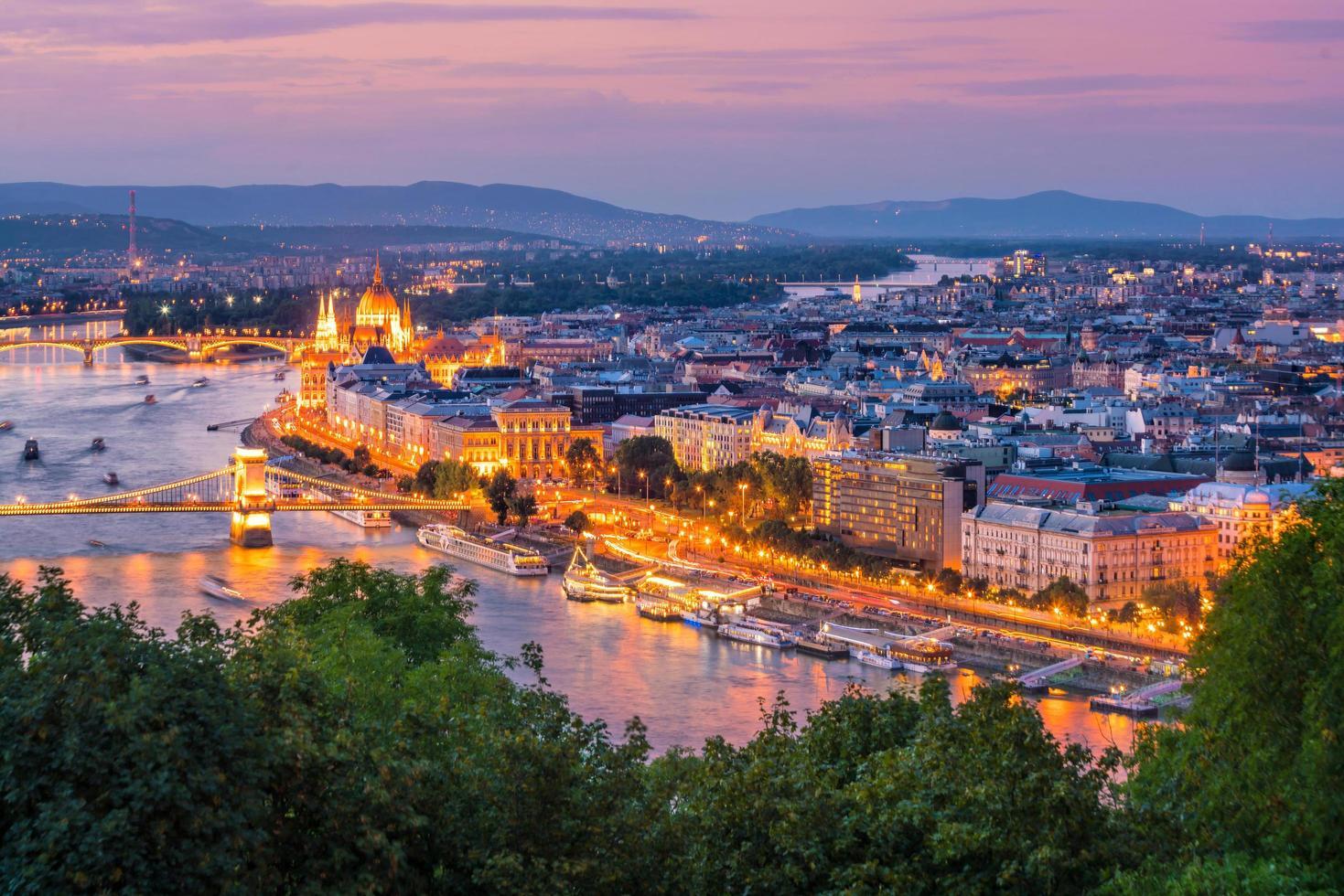 Budapest skyline at night photo