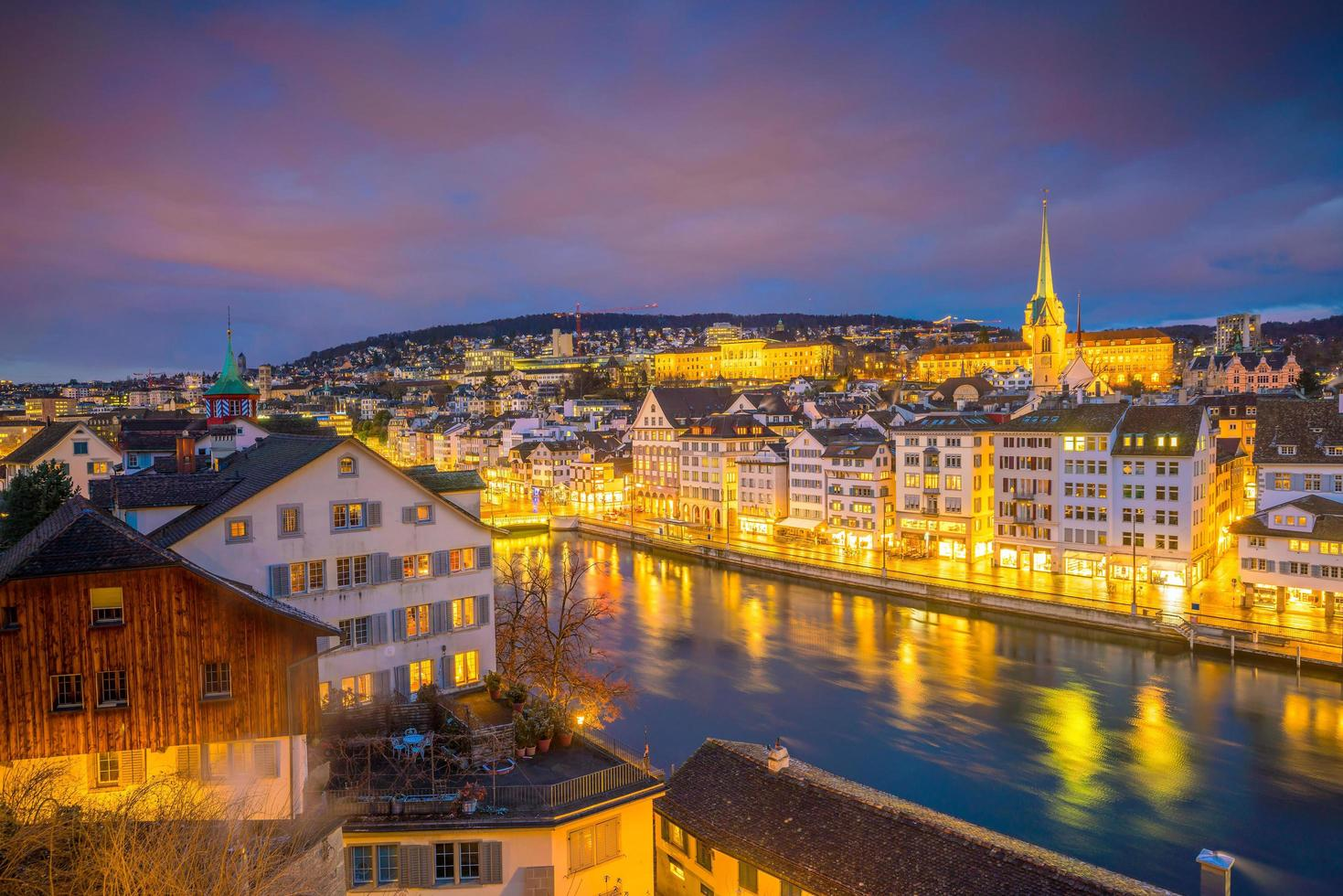 Cityscape of downtown Zurich in Switzerland photo