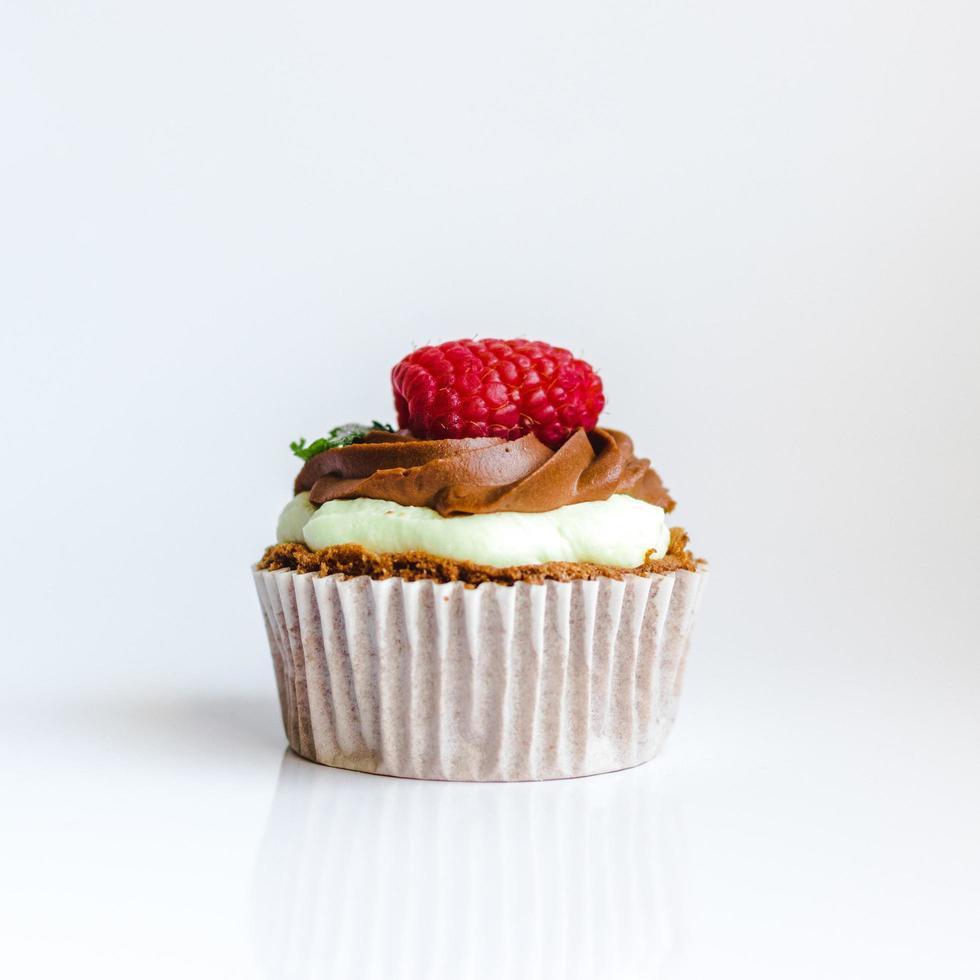 Chocolate raspberry cupcake photo