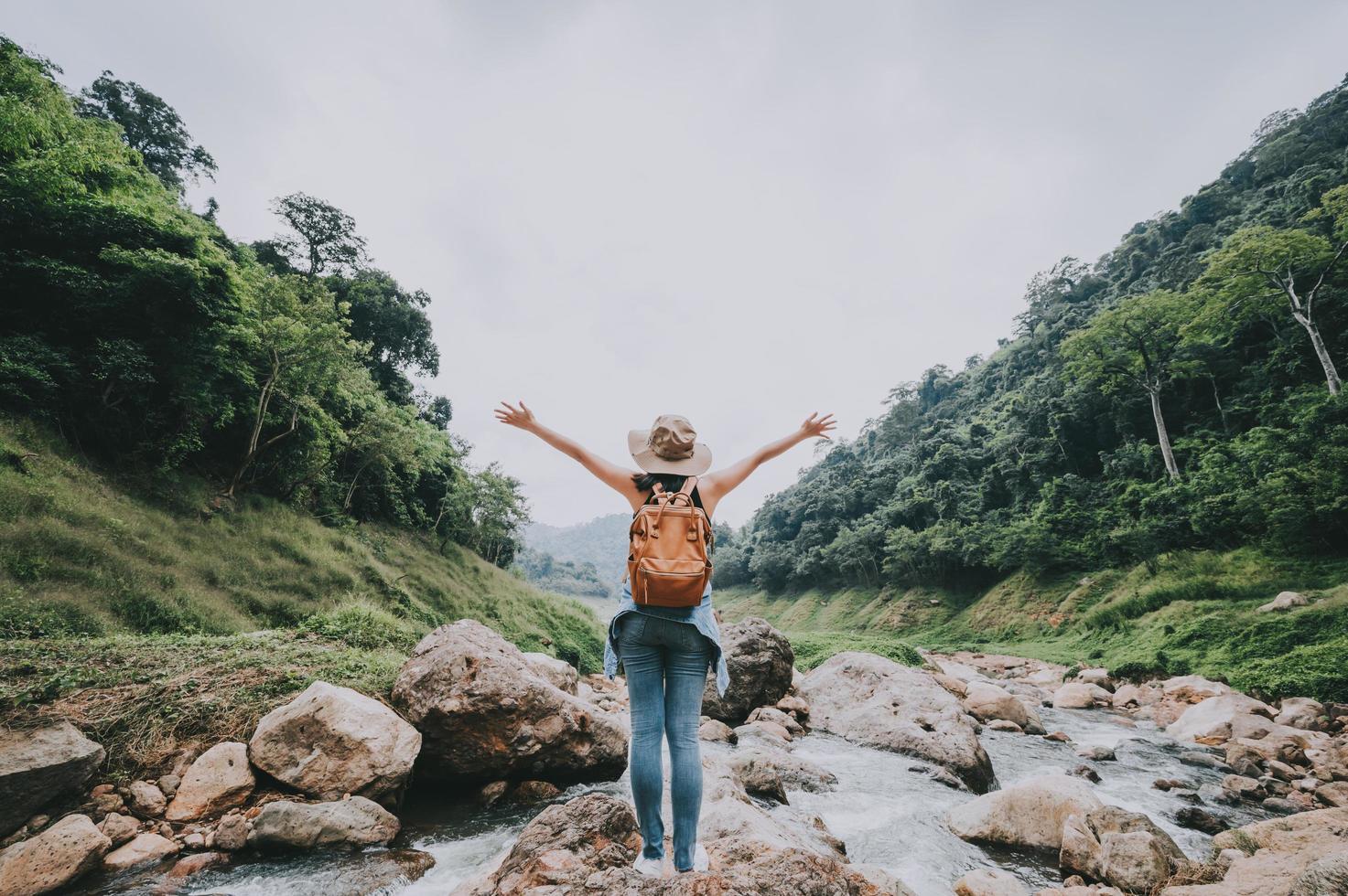Woman enjoying nature photo