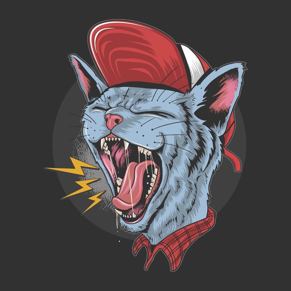chat portant un chapeau hurlant fort vecteur