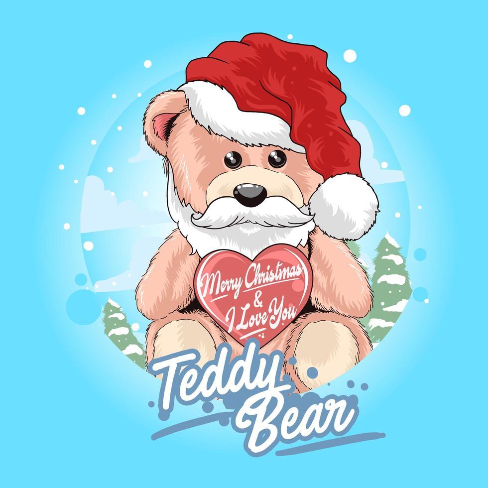 Teddy bear Santa Claus holding heart vector