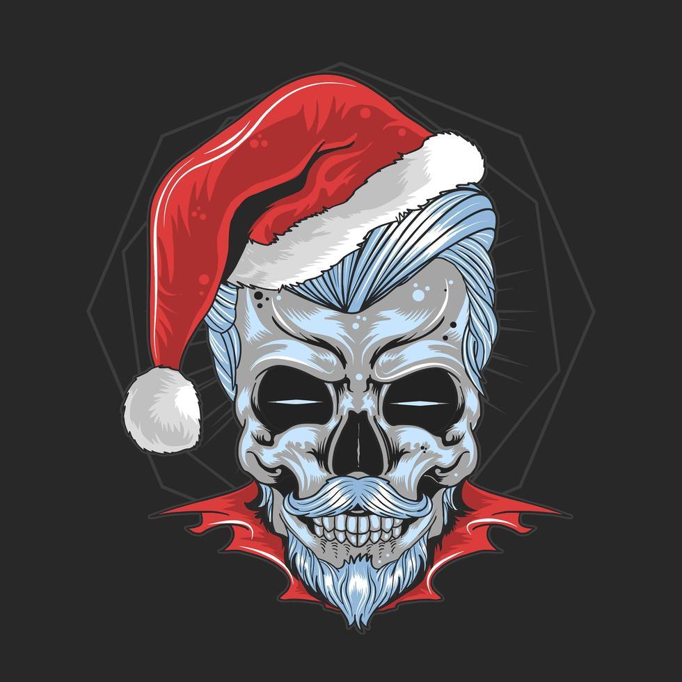 schedel met kerstman hoed vector