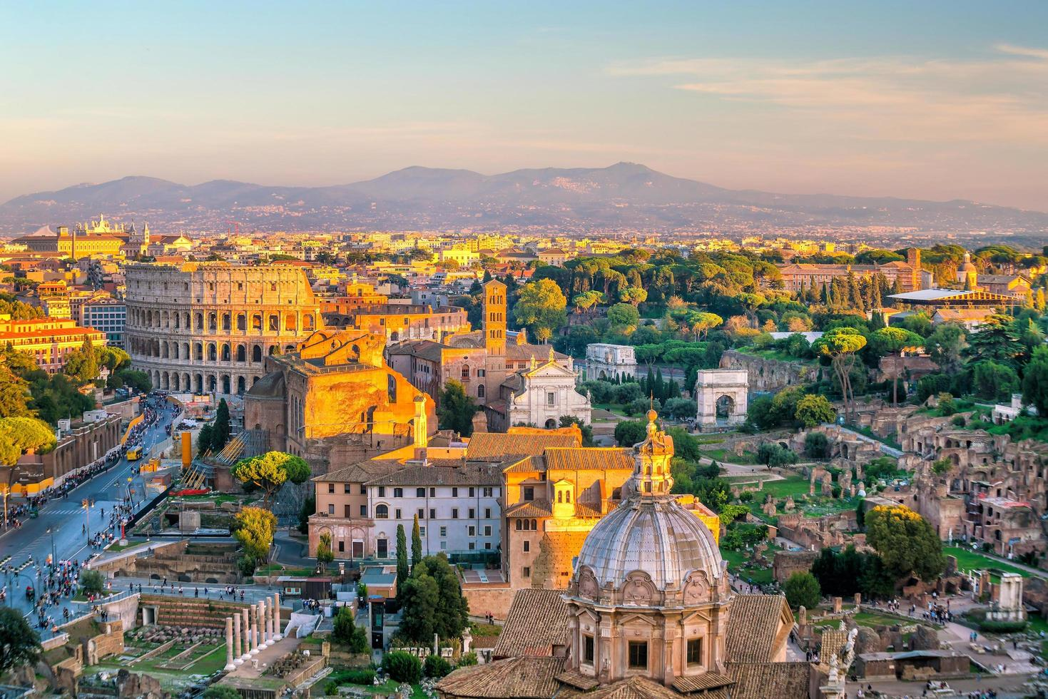 View of Rome city center at sunset photo
