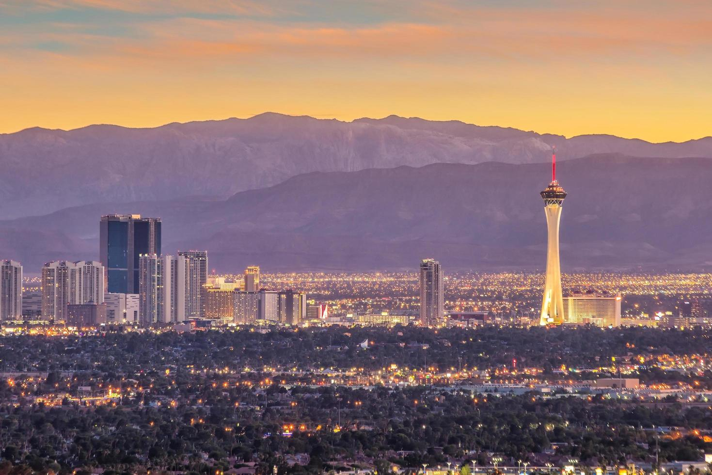 vista panorámica del paisaje urbano de las vegas foto