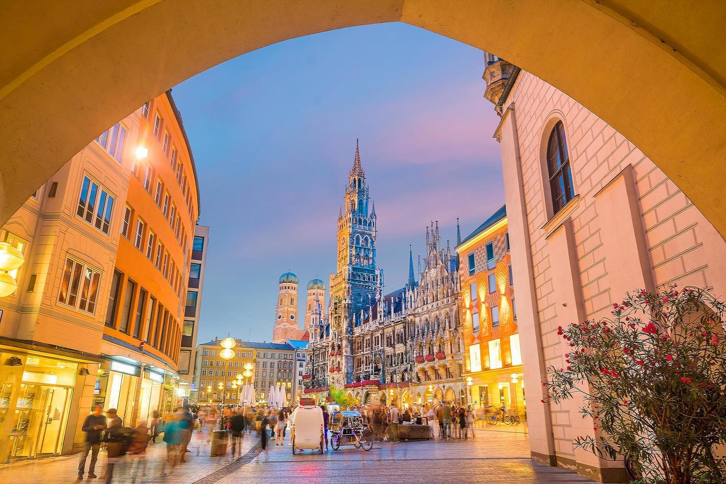 Munich skyline with Marienplatz Town Hall photo