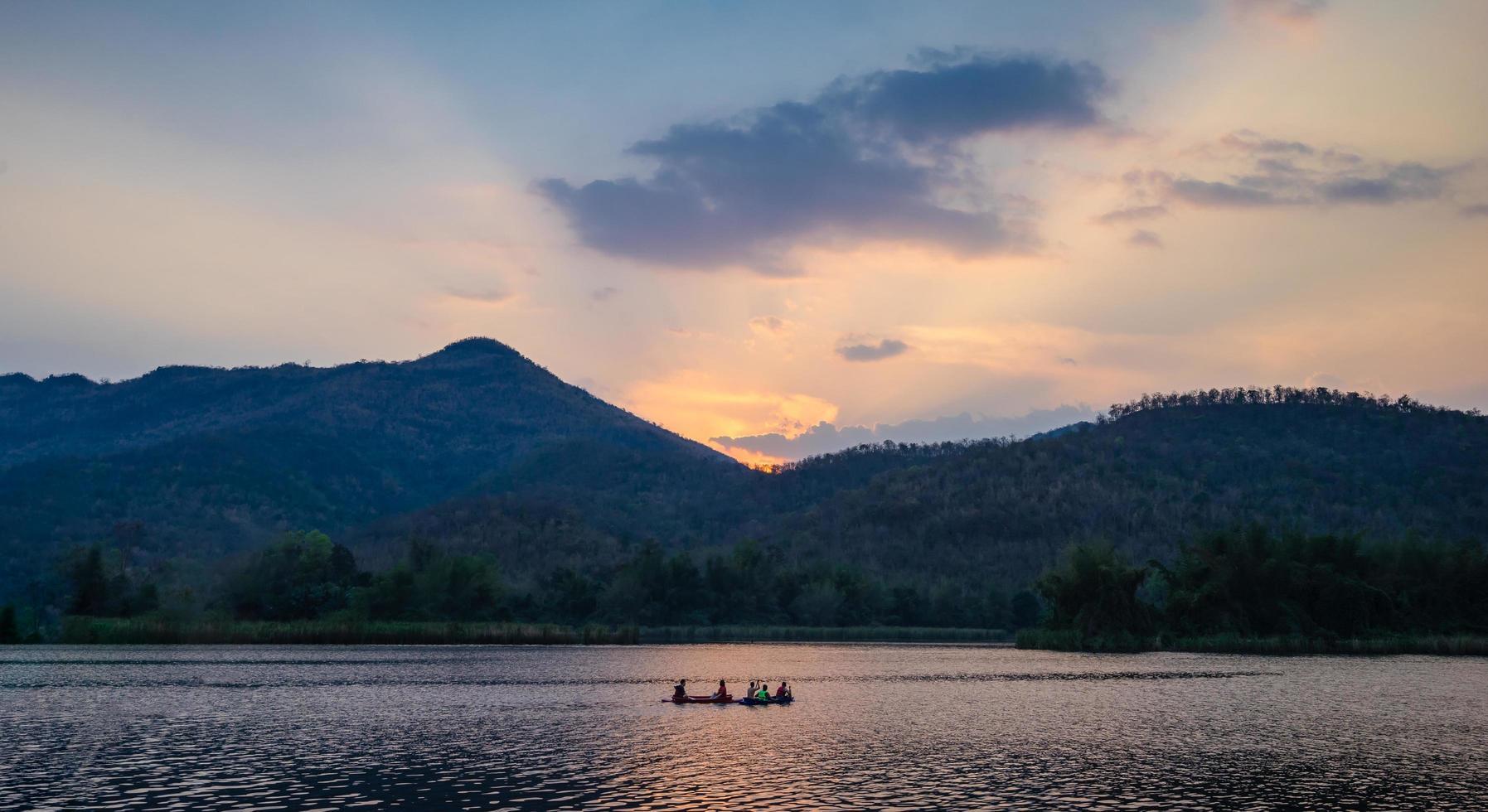 Kayaking down the river photo