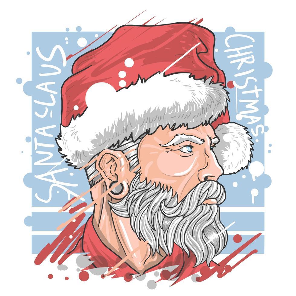 navidad santa claus con bonita barba vector