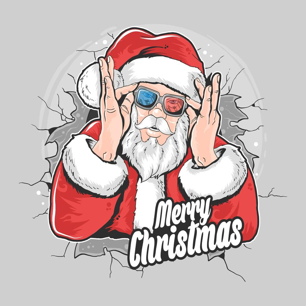 Santa Claus busts out of wall while putting on glasses vector