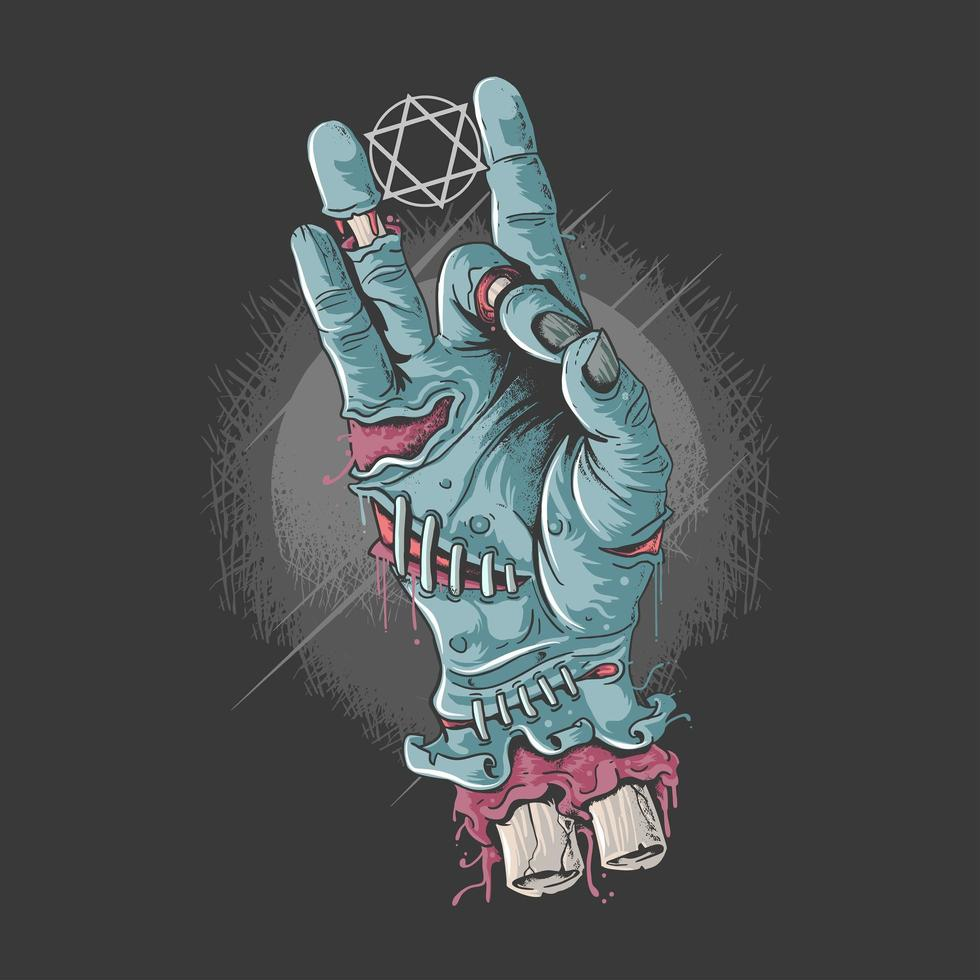 halloween rockero zombie manos vector
