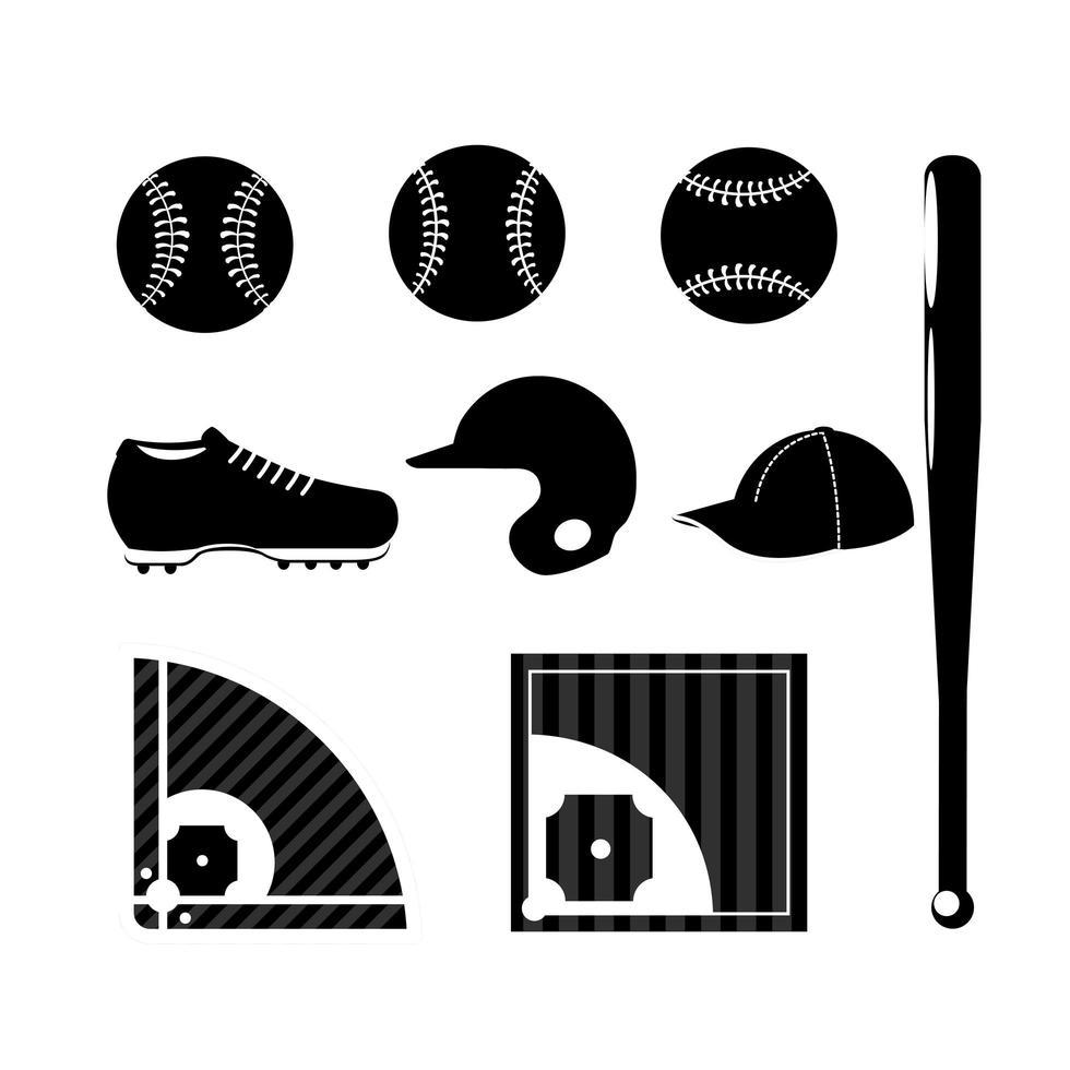 Set of baseball silhouette icons vector