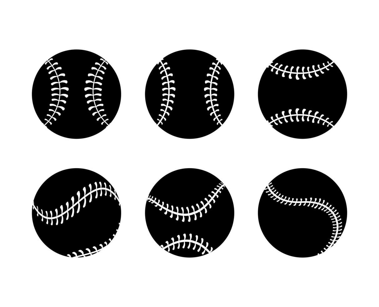 Conjunto de iconos de pelota de béisbol silueta vector