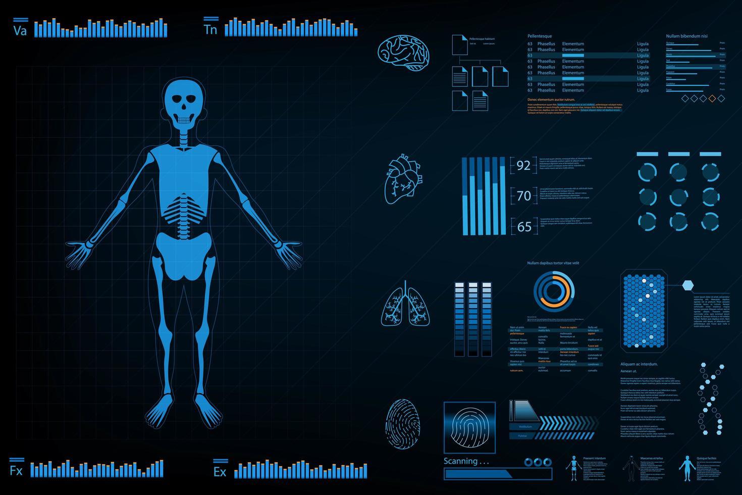 Diseño de análisis futurista con esqueleto, gráficos y tablas. vector