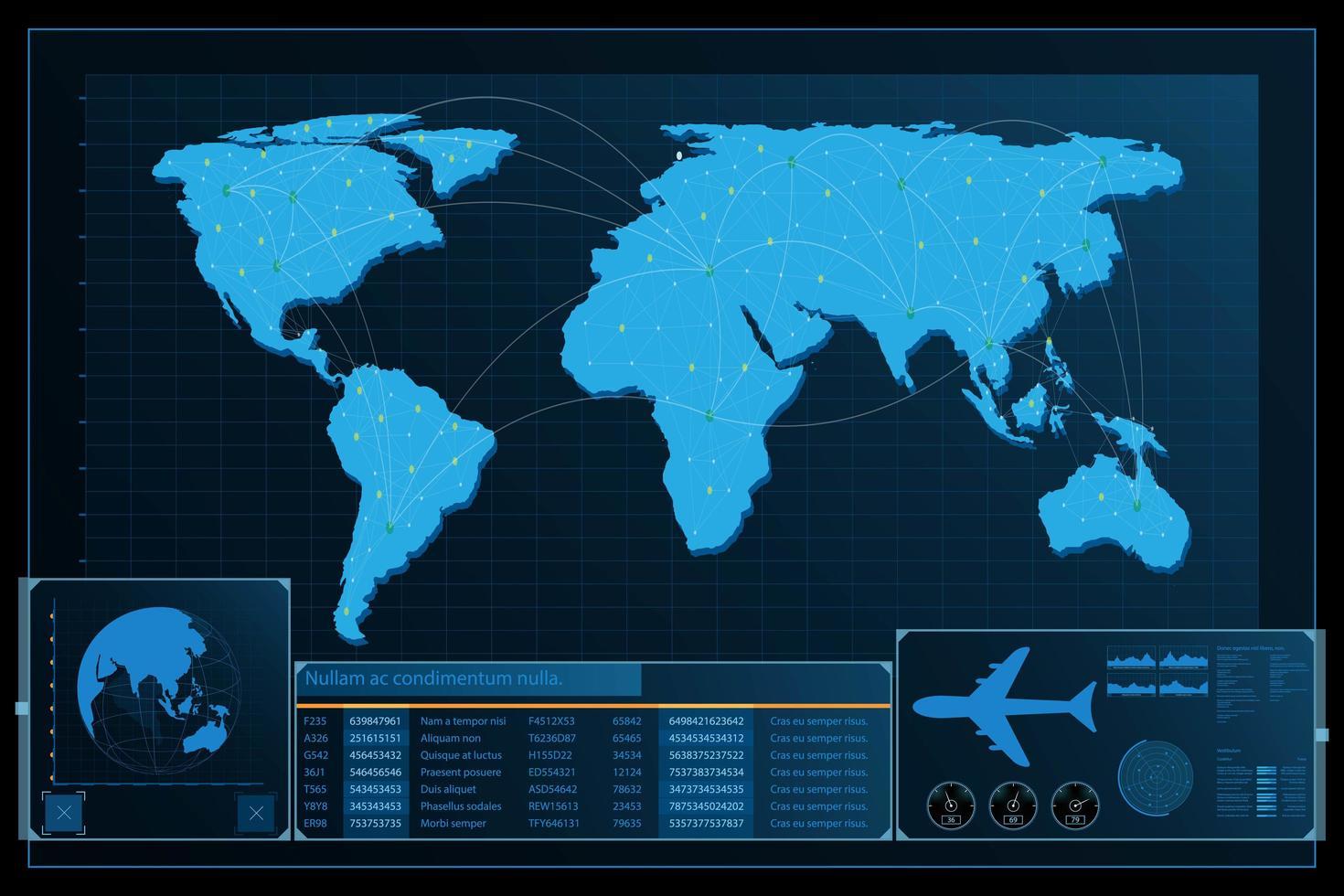 Fondo de mapa del mundo abstracto futurista vector