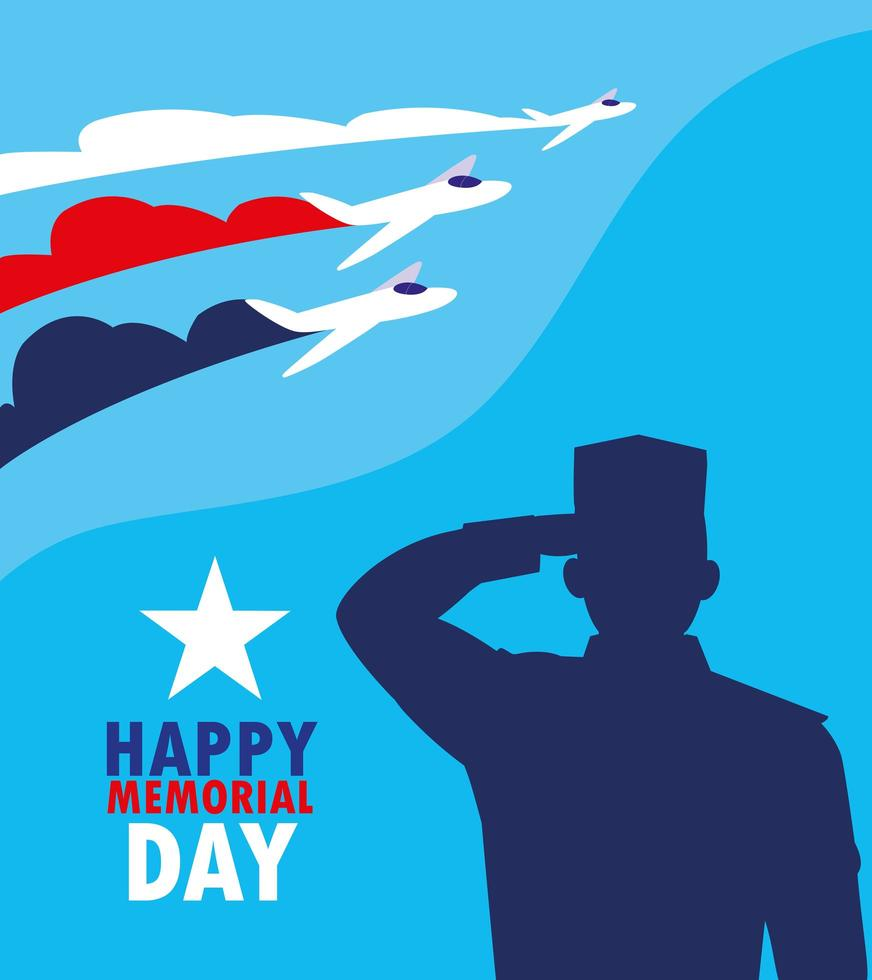 feliz día de los caídos con aviones militares y vector