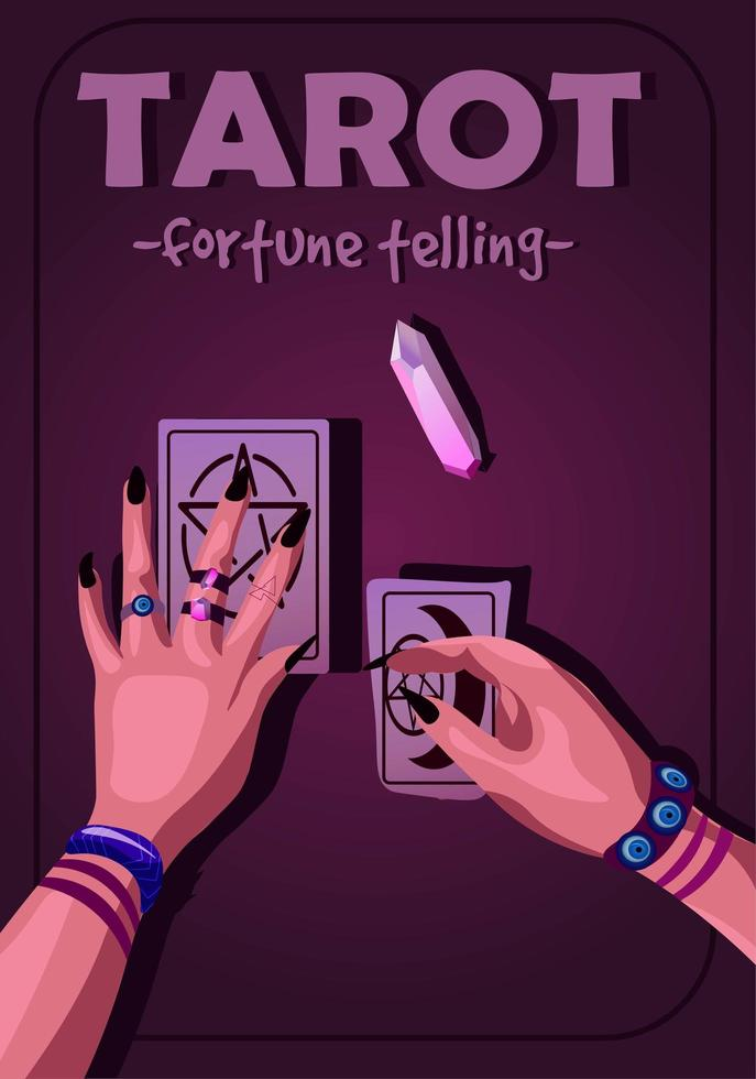 Tarot reading poster with purple violet lighting and text vector