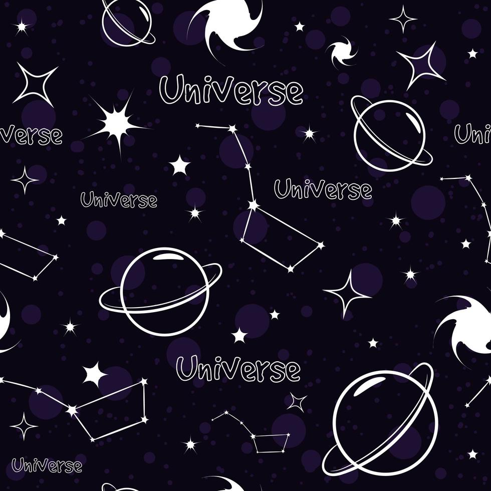 cielo estrellado constelación de patrones sin fisuras vector