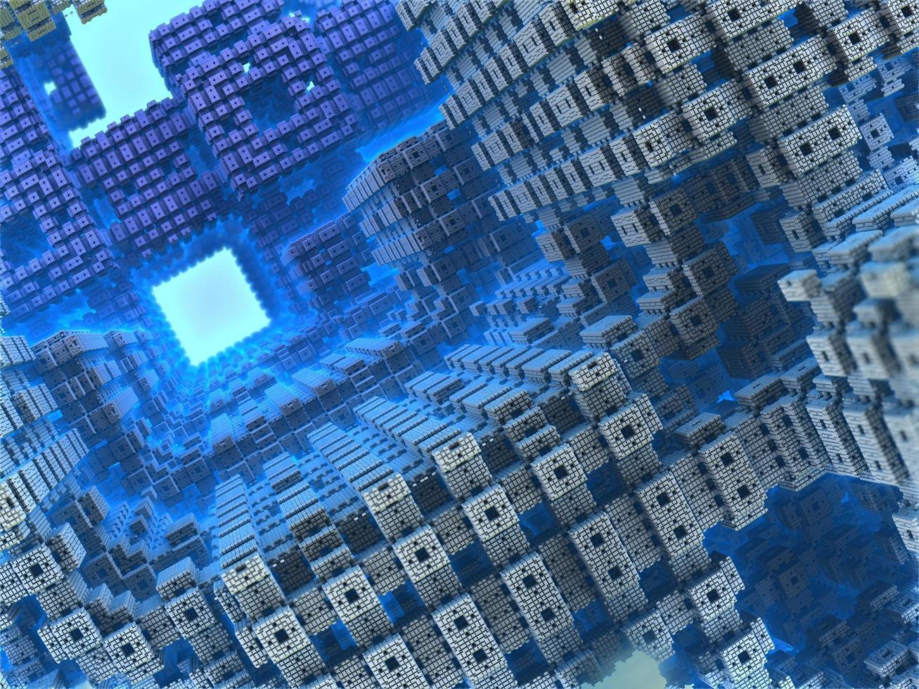 Blue geometric 3d render photo
