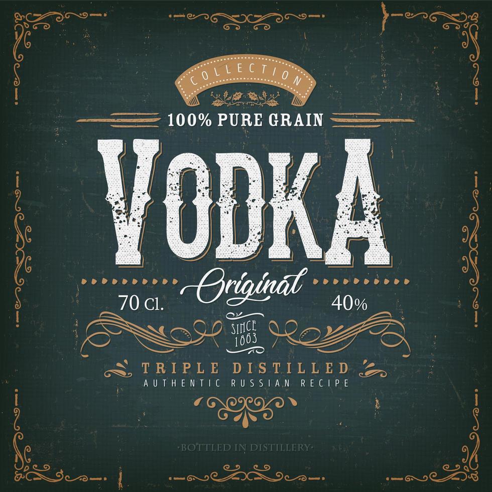 Vintage Vodka Label For Bottle  vector
