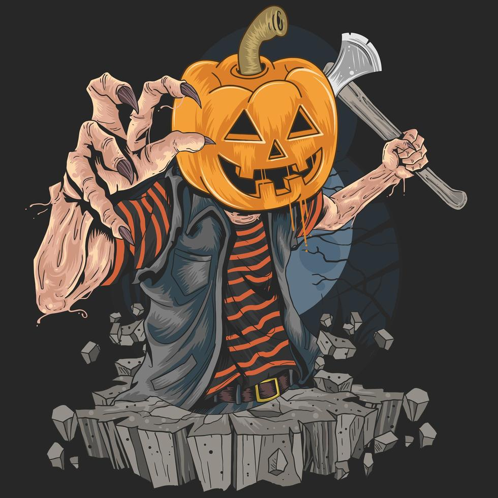 Zombie with halloween pumpkin head holding an ax vector