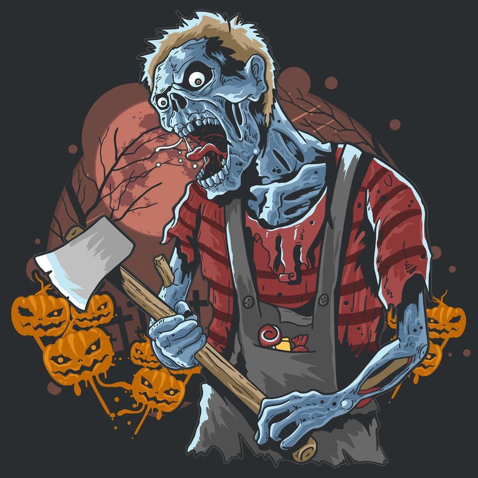 zombie de halloween llevando un hacha con fondo de calabazas vector