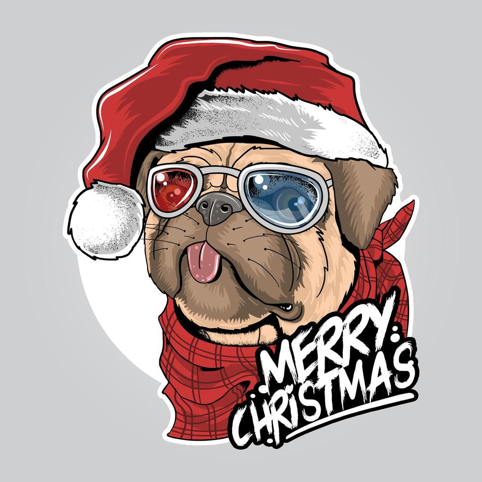 lindo perro pug con diseño de sombrero de santa vector