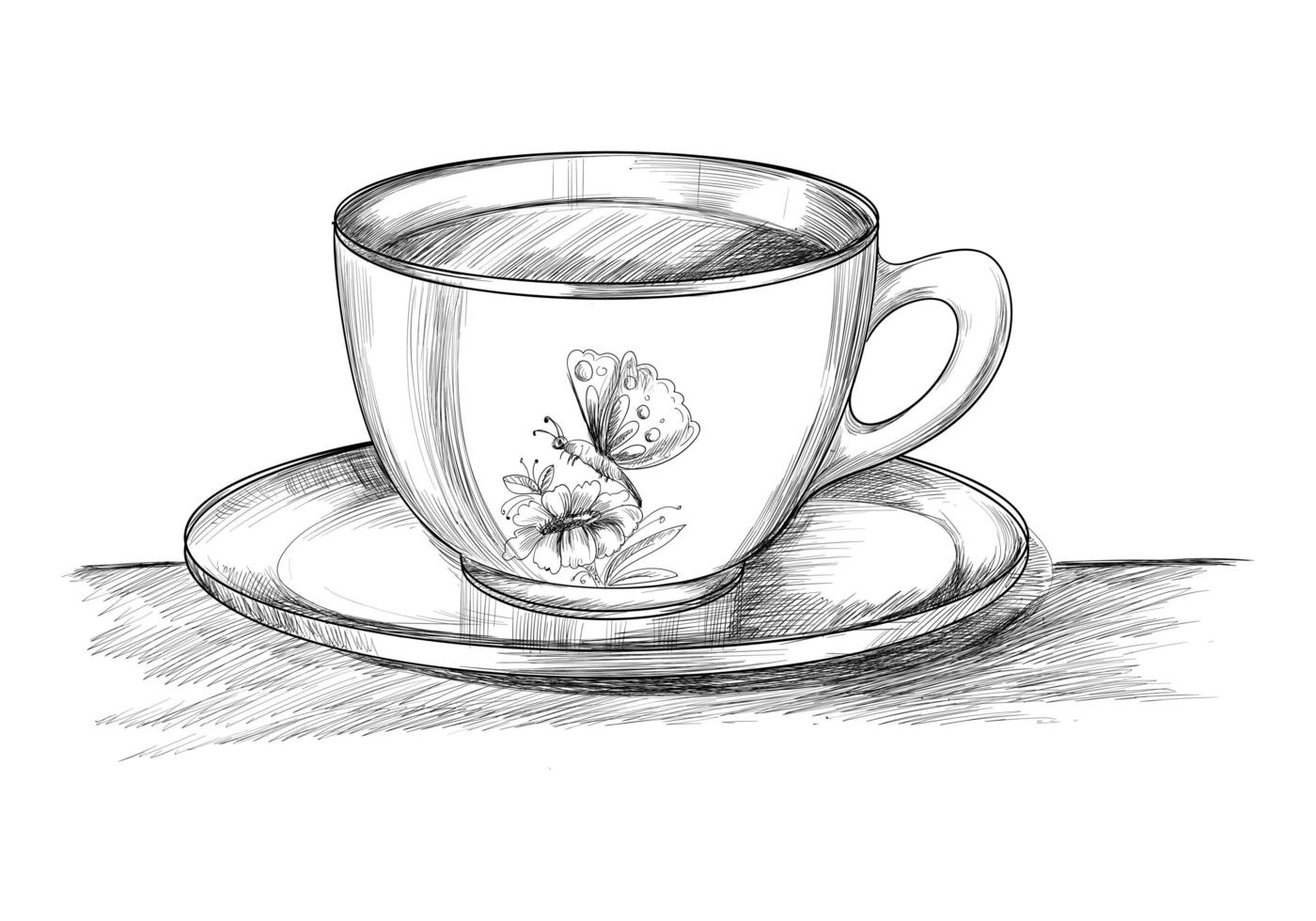 Coffee cup with plate hand drawn sketch vector