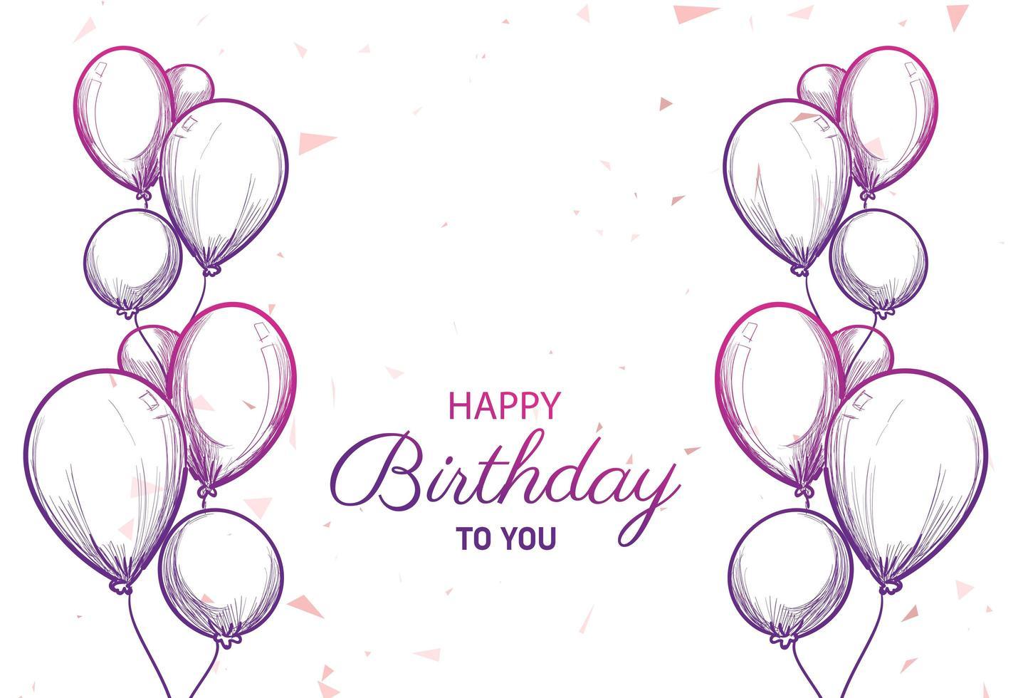 tarjeta de feliz cumpleaños con dibujo de globos vector