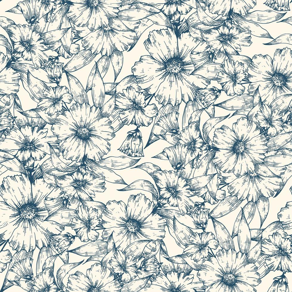 Blue flowers seamless pattern background vector
