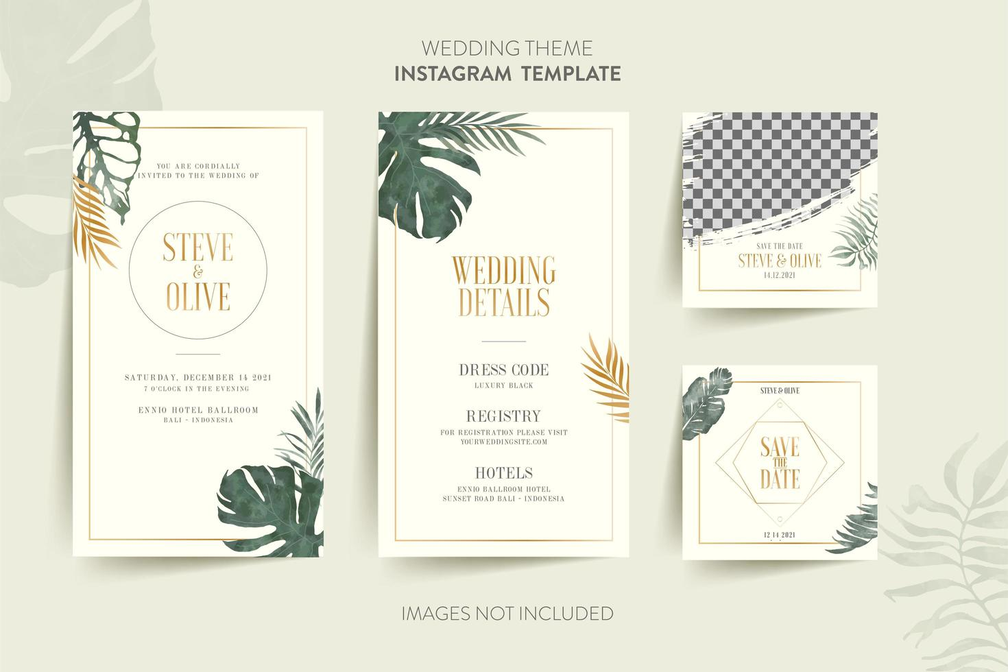 Template For Wedding Invitation Card With Tropical Leaves Download Free Vectors Clipart Graphics Vector Art About 35% of these are paper crafts, 2% are a wide variety of leaf invitations options are available to you, such as card type, use, and material. template for wedding invitation card